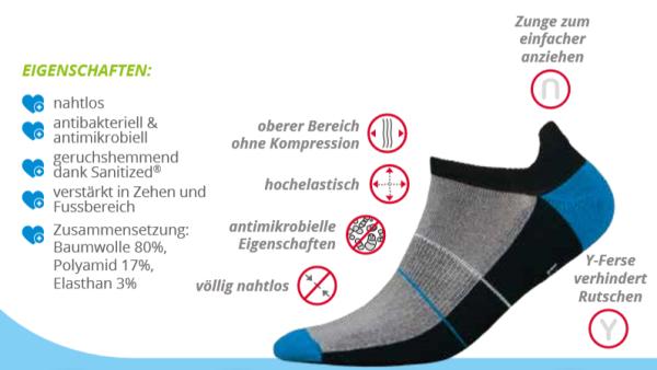 Mini Sportsneaker Antibakteriell gegen Geruch nahtlos  44-46 weiss-grau