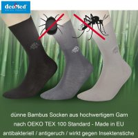 DEOMED® MosquitoStop Bambussocken gegen Stechmücken schwarz 43-46