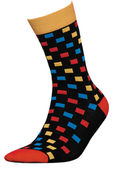 Basic Women Baumwollsocken - Anti Geruch 39-41 square-multicolor