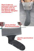 Ultraflex Frottee Venensocken mit extra weitem Bund speziell für geschwollene Beine 35-37 grau