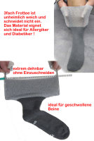 Ultraflex Frottee Venensocken mit extra weitem Bund speziell für geschwollene Beine 47-49 grau